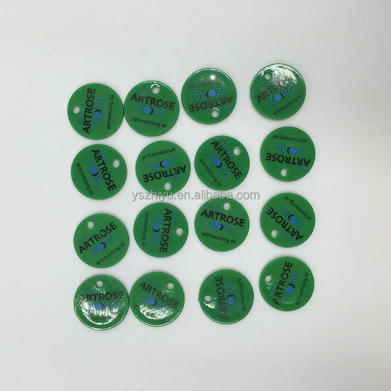 Good Price Custom Plastic PS Blank Plastic Tokens with holes