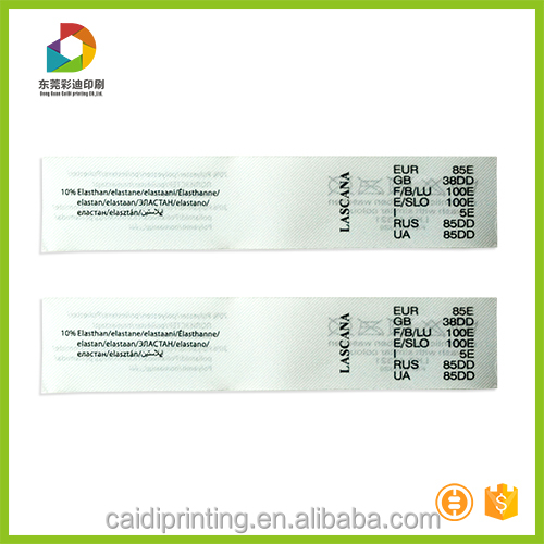 Satin garment care label/polyester care label/print care label