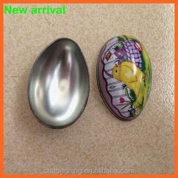 Egg shaped tin box with colorful printing