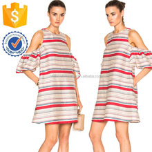Short Sleeve Off Shoulder Beige Red Blue White Stripe Dresses For Fat Women Manufacture Wholesale Fashion Women Apparel(TF0678D)