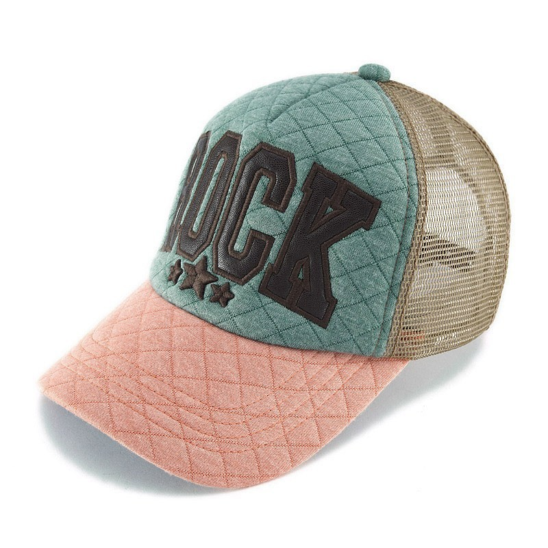 Black Pu Leather Satin Embroidery 5 Panel Foam Trucker Caps With Teal Orange Open Market Jersy fabric Khaki Mesh for Tennis fans