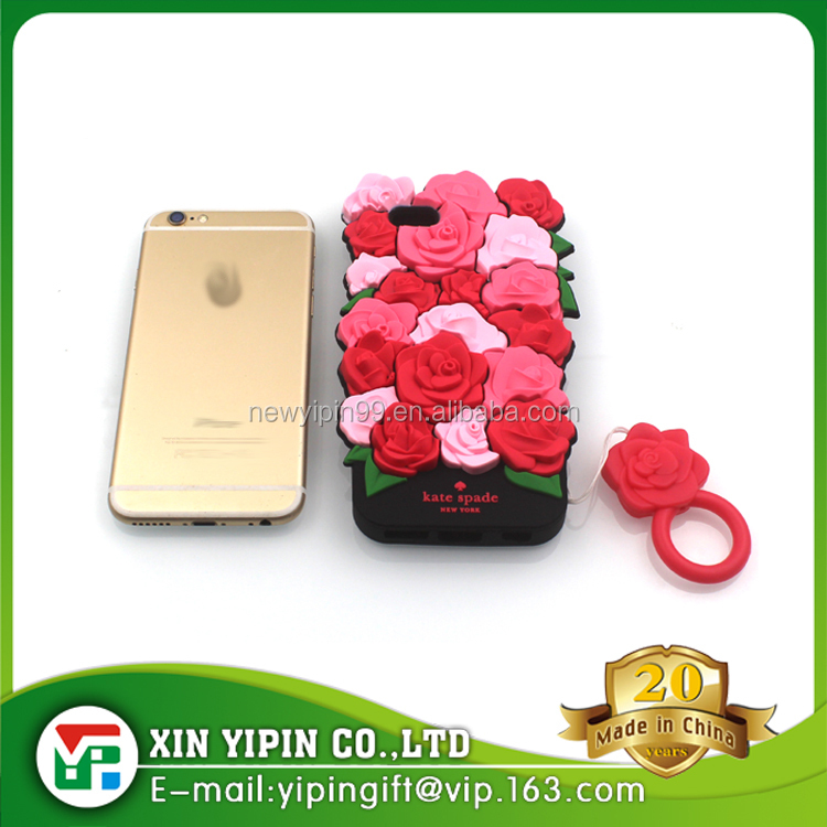3D flowers soft silicone mobile phone case with ring rose phone cover protect mobile