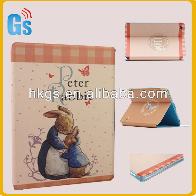 Fashionable Rabbit Case For Ipad 2!Tablet PC Pink Leather Case!Rabbit For Ipad Case