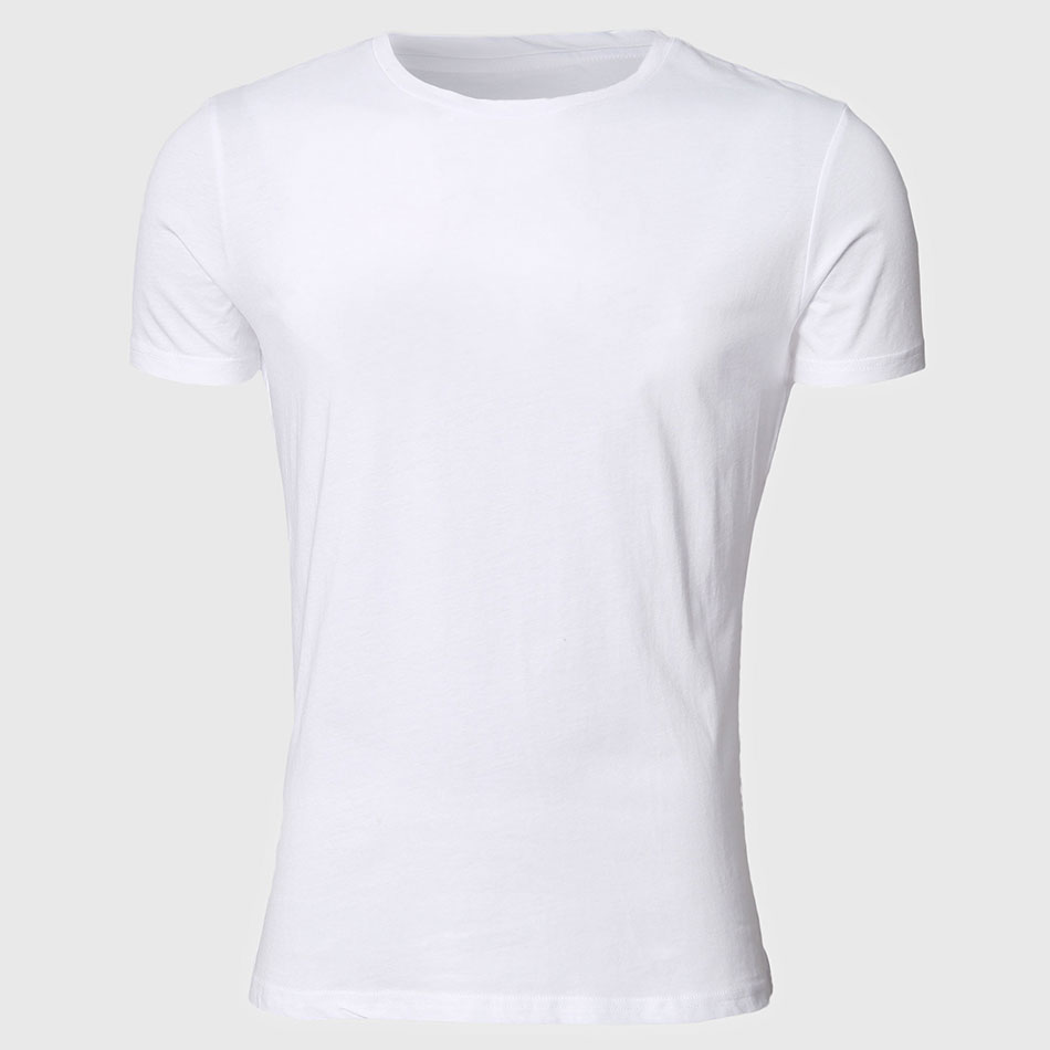 ATSC012 Men White T Shirts Short Sleeve Basic Tee Shirts Summer Slim Fit Tops Plain Classic
