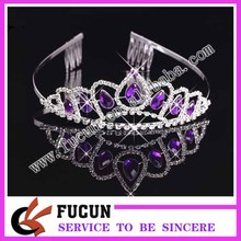Fashion tall pageant crown tiara large bridal colored rhinestone crown diamante jewelry Miss World tiara