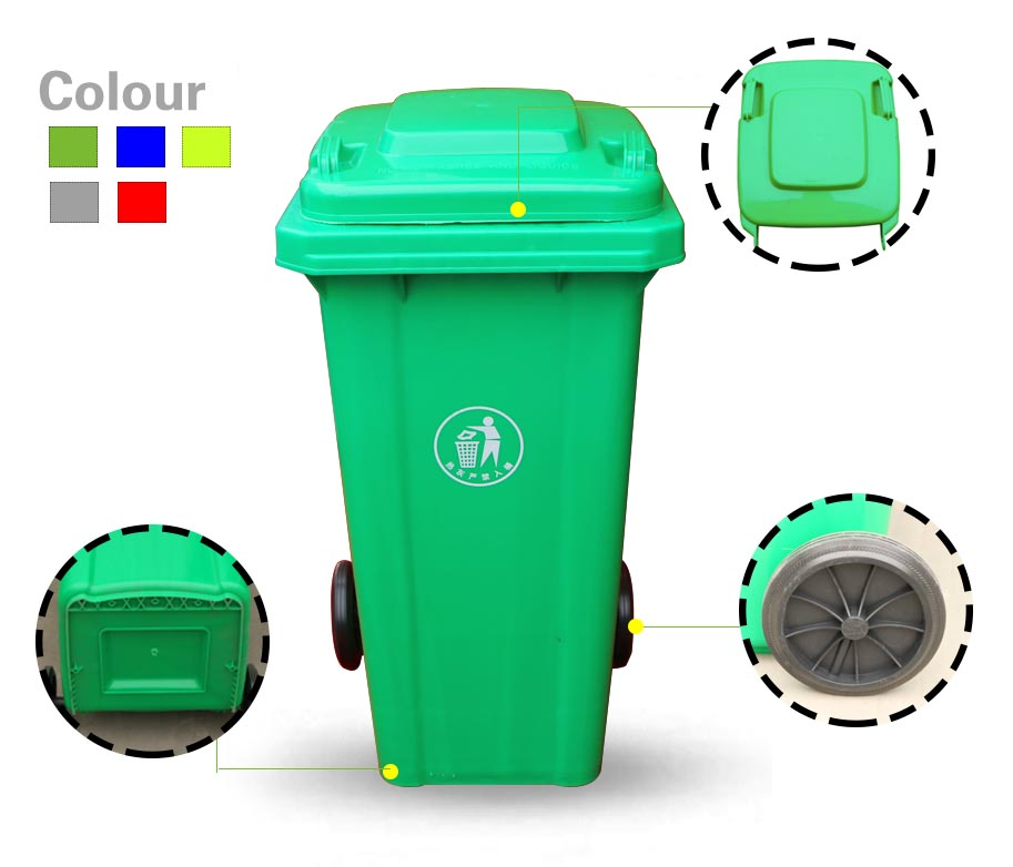 EN840 Standard plastic automatic dustbin with <strong>wheels</strong>