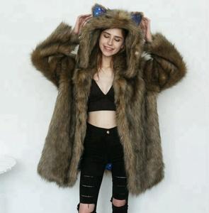c8e1367a0d9 coats for cats. Fashionable cat ears design long faux fur plush coat