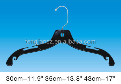 Black thick small recycled plastic tops hanger 41cm