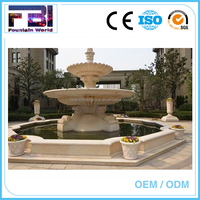 3 tiered Carving stone water garden fountain