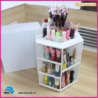 Customized Plastic White Spinning Makeup Display Cosmetic Holder Acrylic Acrylic Makeup Storage