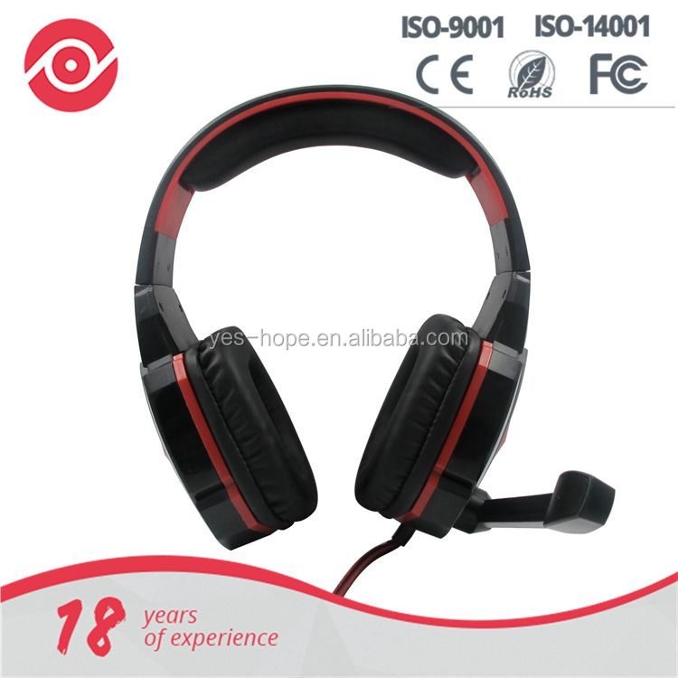 Yes Hope Gaming headphone headset with folding microphone in-line volume control LED Lights for PC Computer game concole