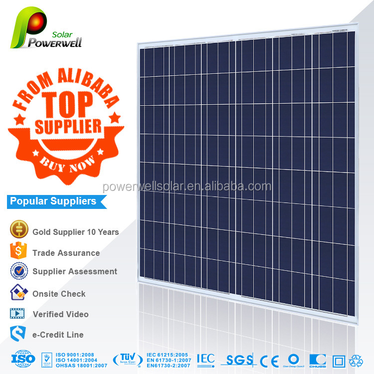 Powerwell Solar 210w polycrystalline solar modules high efficiency fiexible solar panel china price with all certificates