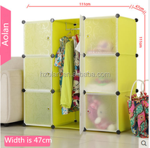Hot Selling!! attractive style diy plastic foldable wardrobe in many style/colorful 9 cube wardrobe
