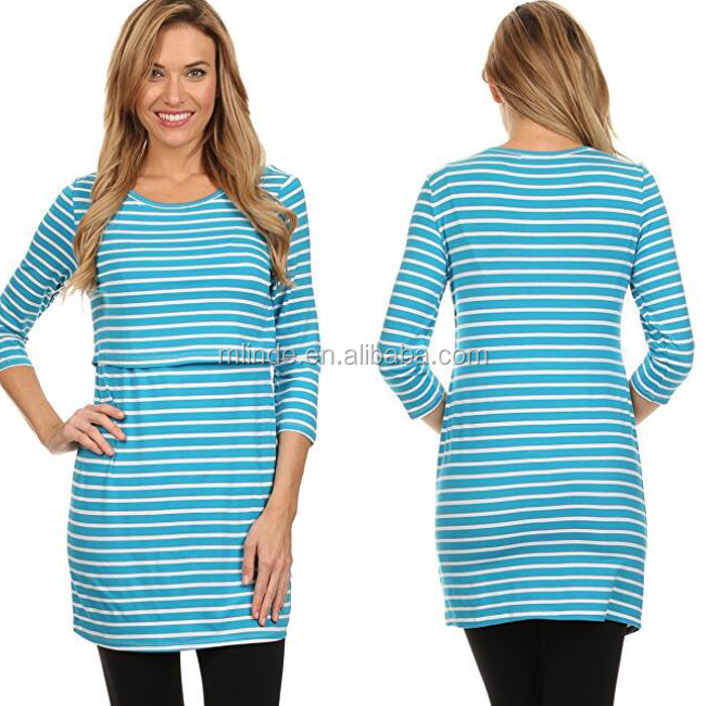 Online Shopping Clothing Wholesale Custom Maternity Blouse Striped Nursing Breastfeeding Tops For Pregnant Wholesale