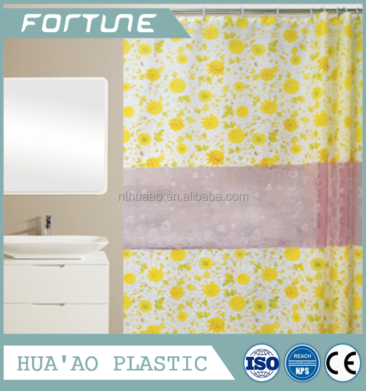 Print shower curtains with 3D lines PEVA curtain water proof curtains