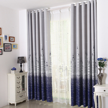 Classic design style bright curtain with landscape painting