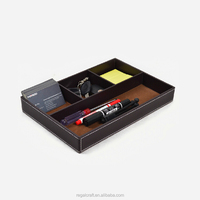 Desktop Storage Tray With Dividers PU Leather Trays For Sundries With 4 Compartment