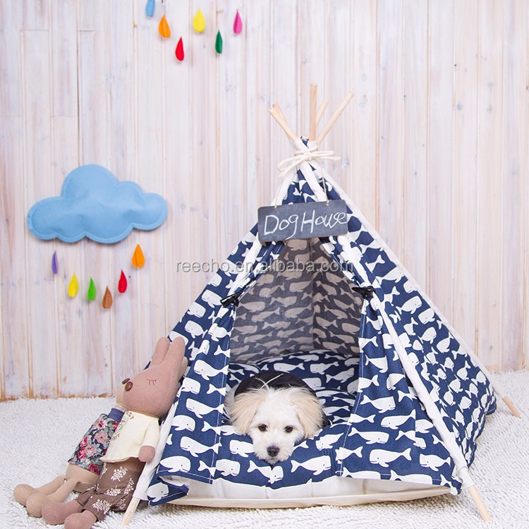 Cotton Canvas Wooden Pole Dog Cage