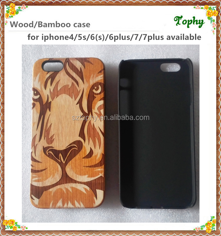 Laser engrave wood phone cover cool Tiger face shape custom cell phone wood case for iphone 6s 6 plus for iphone 7 cover