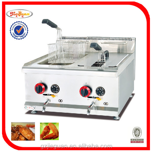 Stainless Steel Gas Deep Fryer With Temperature Controller Device in Guangzhou(GF-72A)