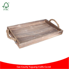 Hot Sale Rustic Pine Wood Serving Tray with Rope Handles