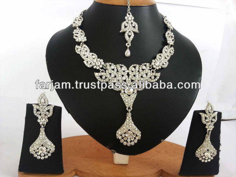 INDIAN WHOLESALE SILVER AMERICAN DIAMOND PARTYWEAR JEWELLERY/JEWELRY NECKLACE SET