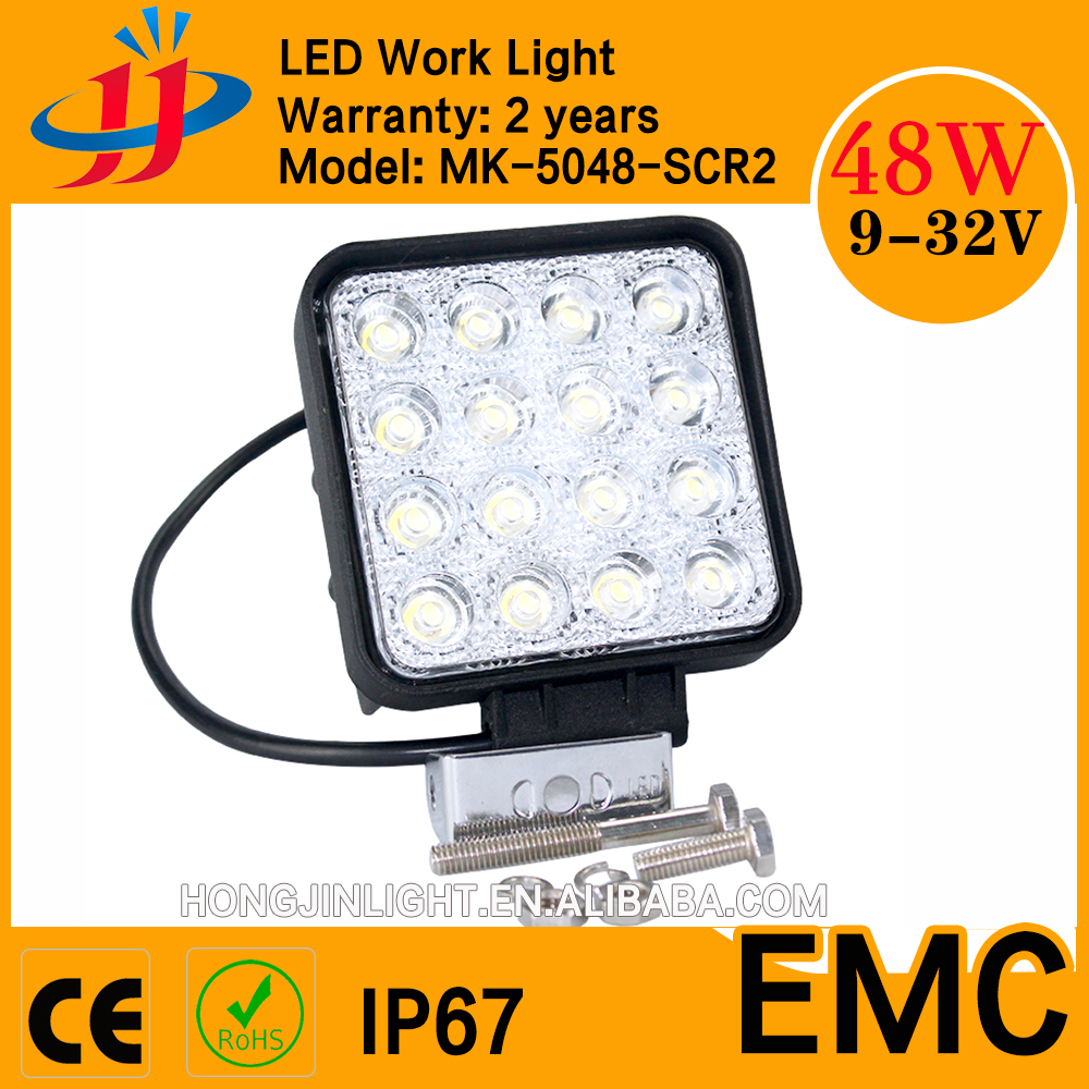 EMC IP67 CE ROHS ISO 48w led work light/offroad work light/12v 24v led work lamp