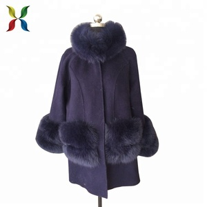 winter silver fox fur collar double faced woolen coat
