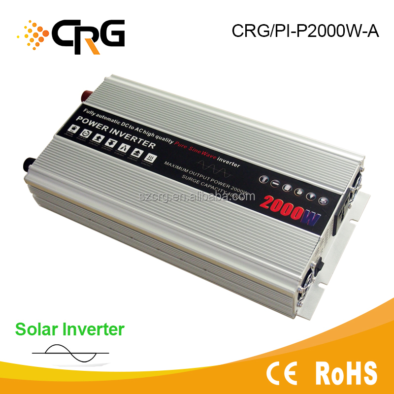 Portable power supply Pure sine wave 2000W inverter 12/24Vdc to 110/220Vac inverter solar wind hybrid power inverter