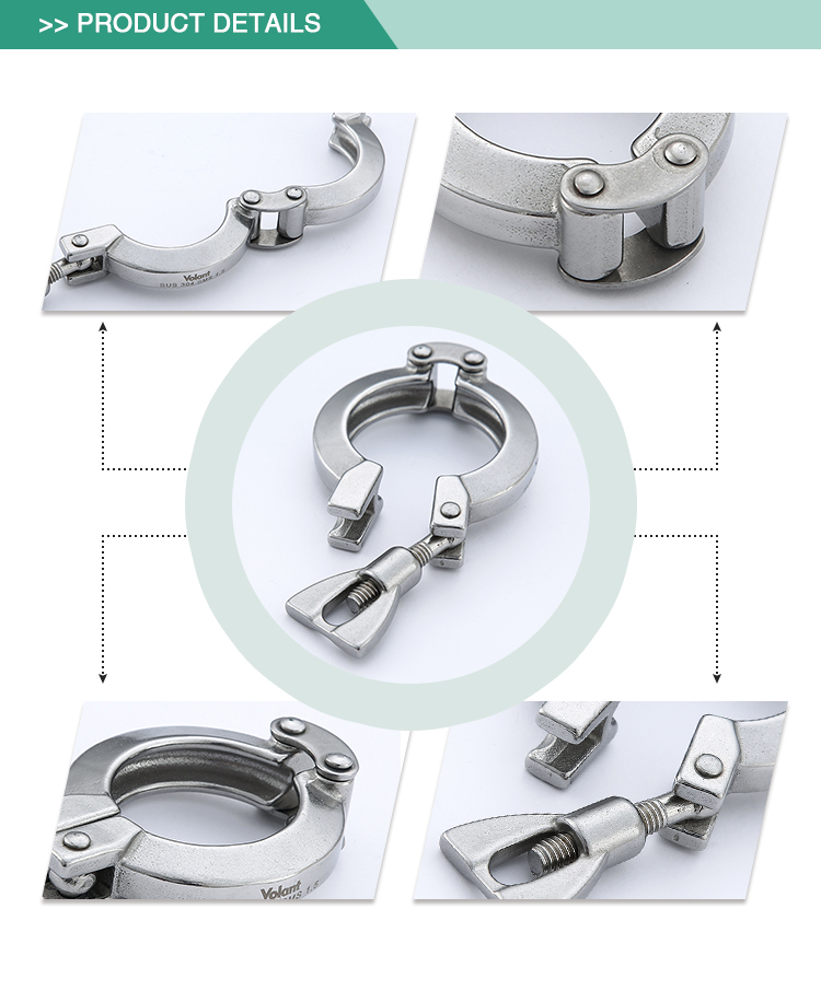 High quality simple operation stainless steel sanitary double pin clamp