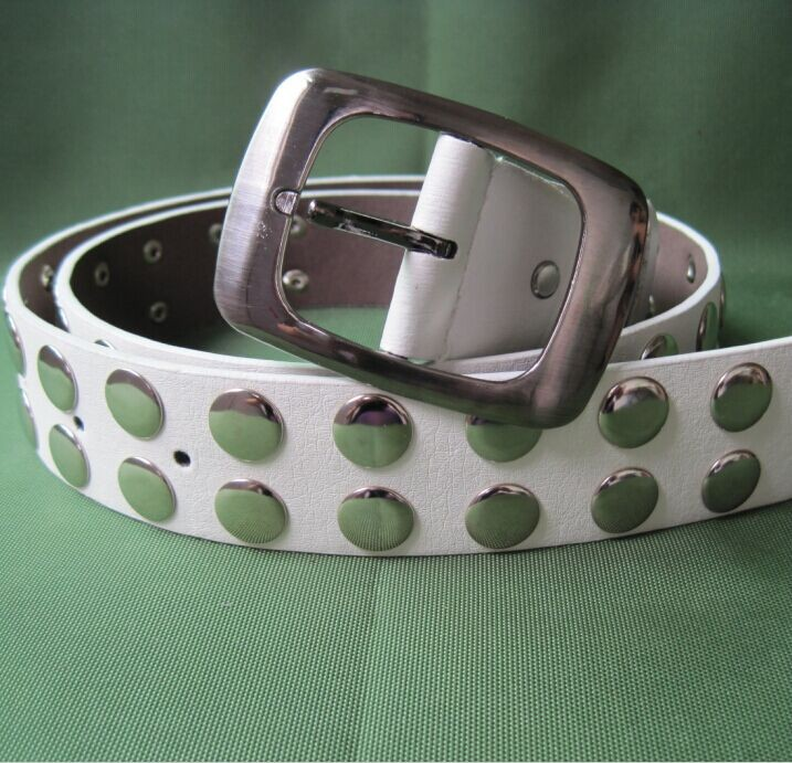 European punk style white faux pu leather belt with decorative rivets