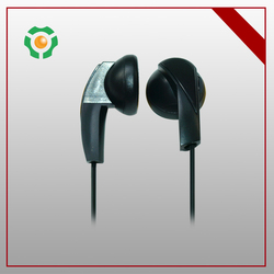 Android phone accessories super cool black earphone with 15mm driver and round cable