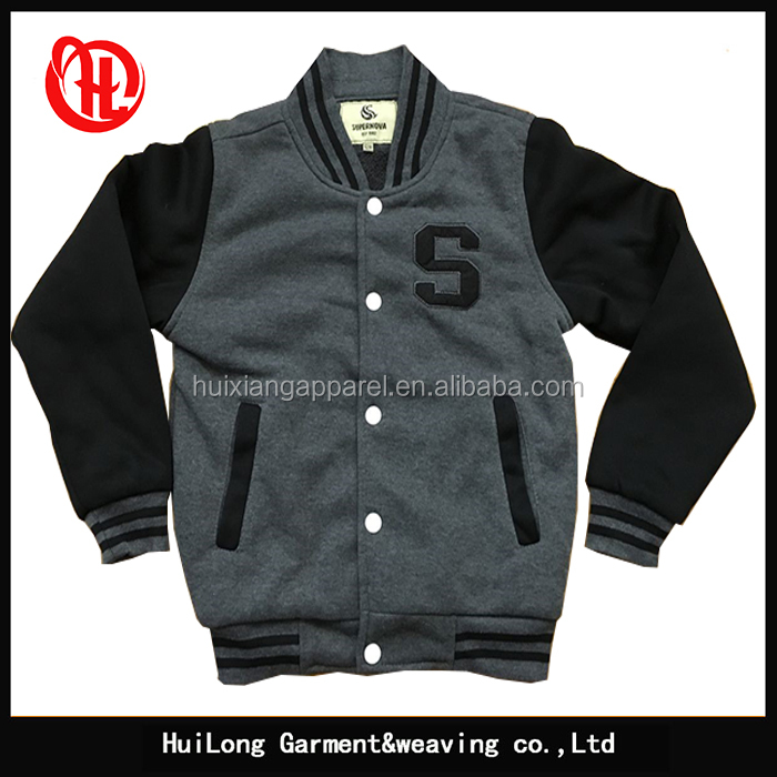 Casual wholesale kids plain varsity jacket