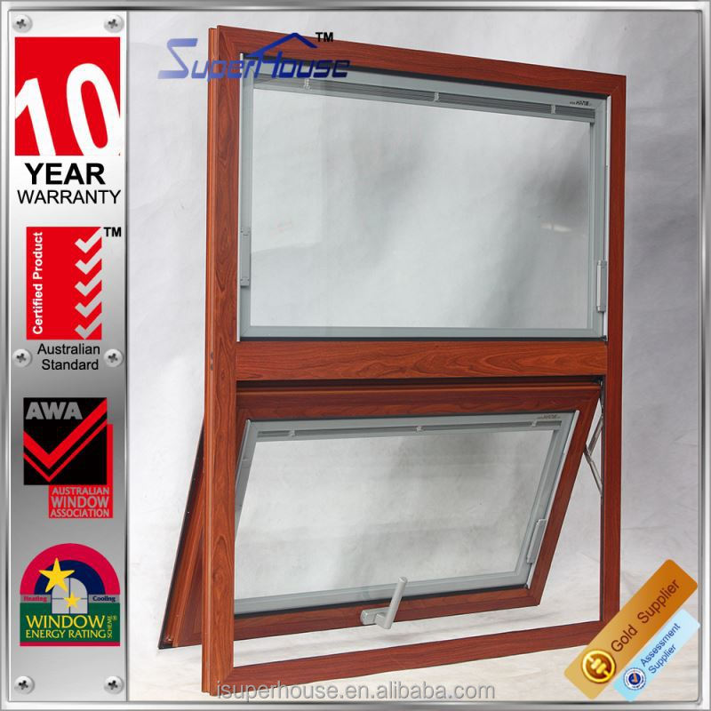 High water tightness wood grain aluminium glass window double glazing and modern style