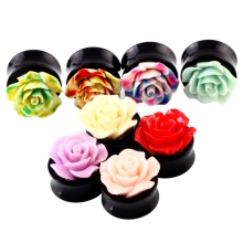 3D Rose Flower Acrylic Ear Plugs Tunnels Ear Piercing Expander