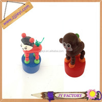 Child toy vintage toy collection of 4 push button wooden animal push toys seat cask