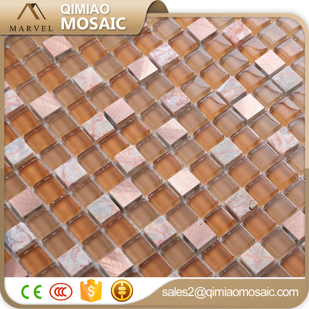 Browns Square Rosy Aluminum Glass Stone Metal Mix Mosaic Tile
