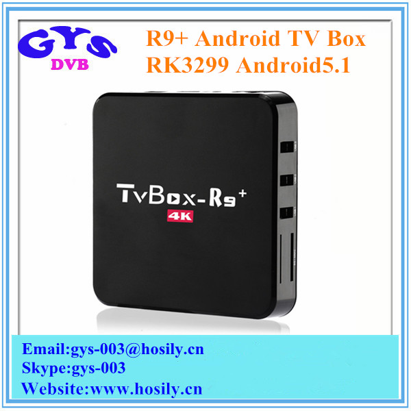RK3229 Quad Core Android TV Box R9+ Smart TV Box Android5.1 1GB RAM 8GB NAND Flash KODI16.1 Fully Loaded 4K Media Player