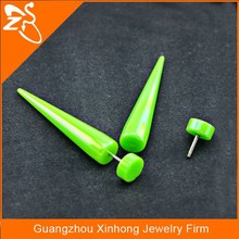 Acrylic Green Neon Colour Faux Fake Cheaters Illusion Black Ear Tapers Expanders