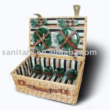 Four plastic knife and fork spoon willow picnic basket