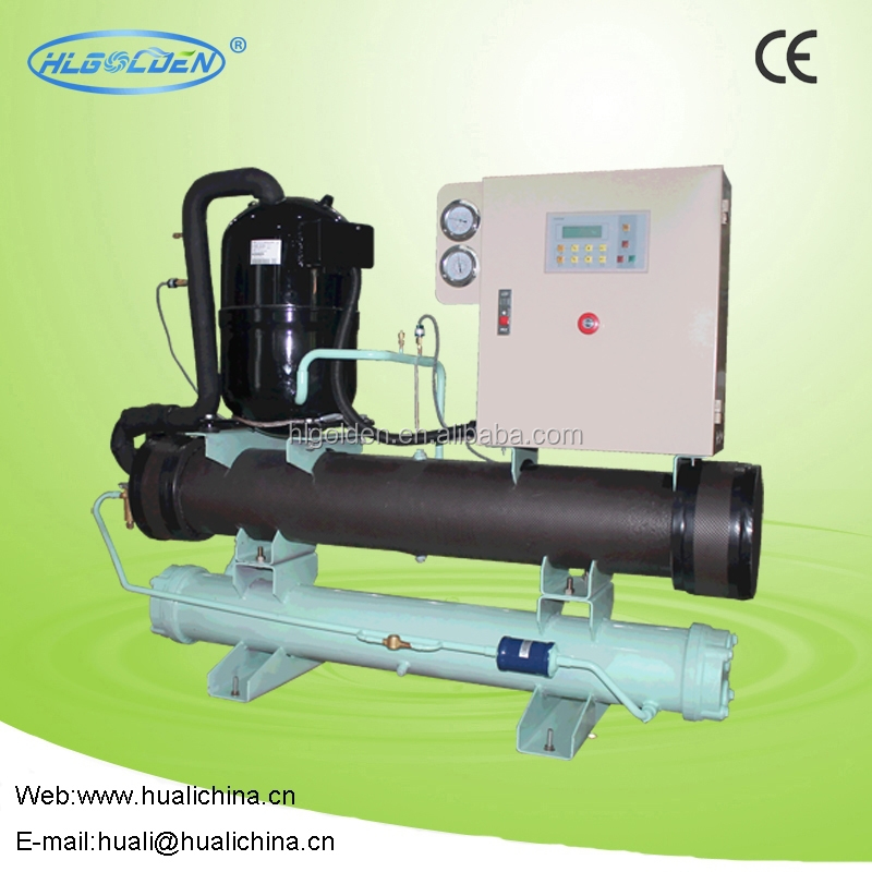 Double shell and tube type scroll compressor metal finishing chiller