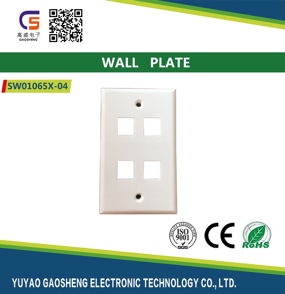 120 Wall Plate with 4 Port Keystone Jack Amp Face Plate