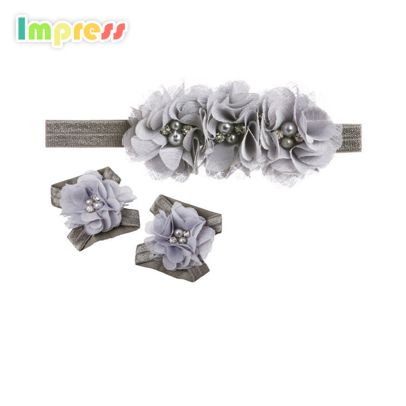 New design lace baby girl hair accessories set flower headband wholesale
