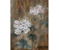 High Quality Wooded Home Decoration Blooming Flower Handmade Flower painting Art Wall Oil Painting on board BM026