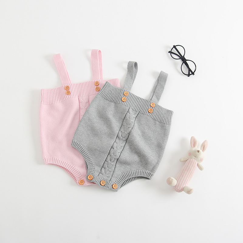 2017 autumn infant toddlers wool knitted rompers cute baby boys girls bunny ear suspender jumpsuit