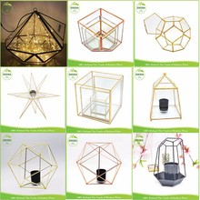2017 new Exotic Wedding centerpiece table Star Lanterns Moroccan decor Metal brass geometric glass aluminum foil candle holder