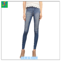 Stylish Mid-Waisted Bleach Wash Slimming Women pencil Jeans