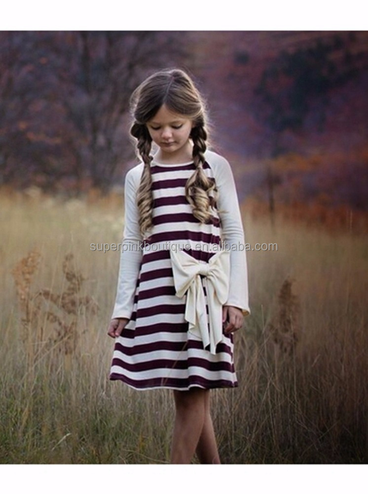 Best price teen fall winter stripe cotton girls daily wear dresses with bow