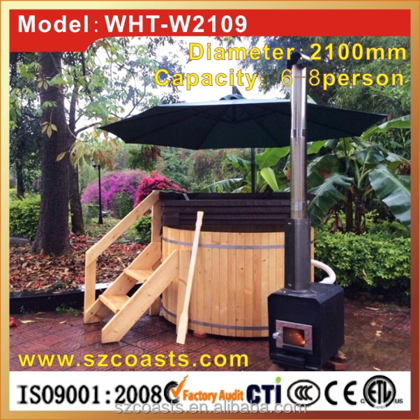 Traditional Outdoor wooden hot tub with red cedar external heater ,seat,cover,chair