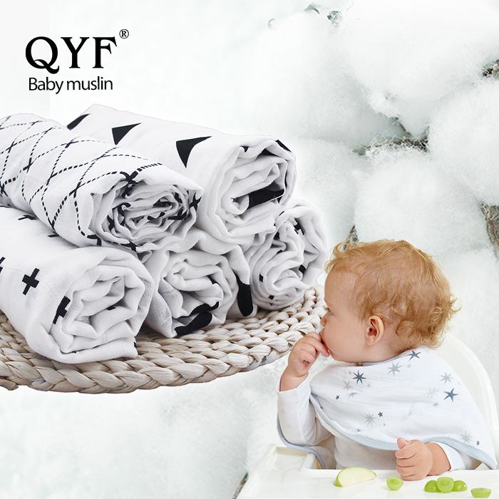 100% organic cotton baby muslin wrap swaddle blanket